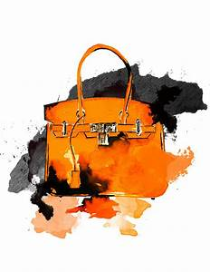 Hermes Bag, Watercolor Fashion Illustration Painting by