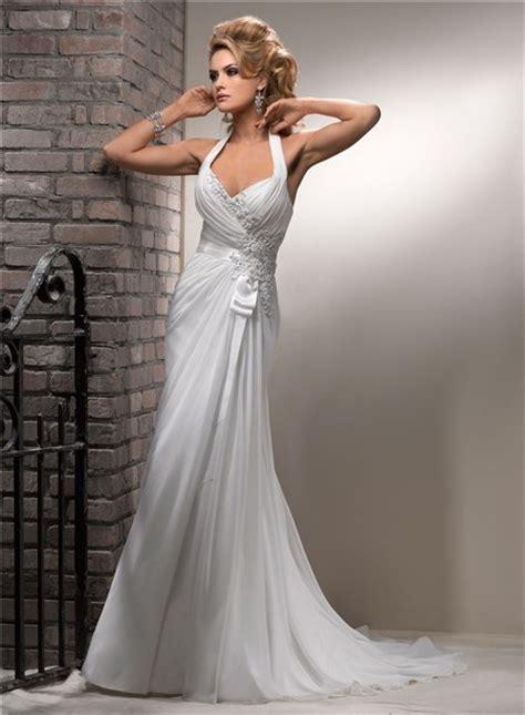slim   halter corset  chiffon beach wedding dress