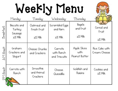 Sample Daycare Menu Templates  Preschool Pinterest