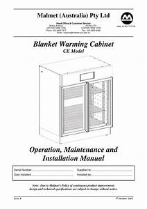 Blanket Warming Cabinet Ce Model Operation   Maintenance