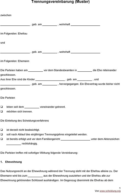 trennungsvereinbarung haus muster trennungsvereinbarung muster pdf