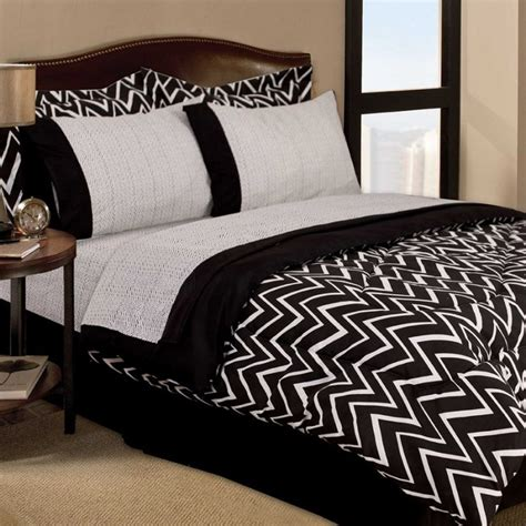 retro zigzag dorm teen 6pc black white twin comforter