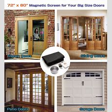"72""x 80"" Hands Free Magnetic Screen Door For French Doors"