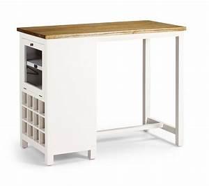Table Haute En Bois : table de bar en bois blanc laqu avec range bouteilles ~ Dailycaller-alerts.com Idées de Décoration