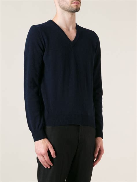 moncler sweater moncler knit sweater in blue for lyst