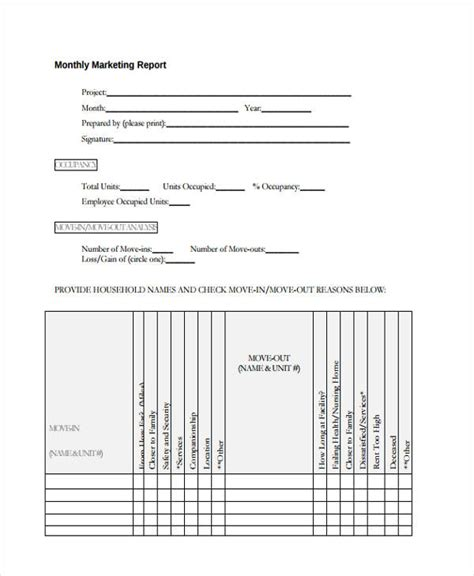 monthly report examples samples  word pages