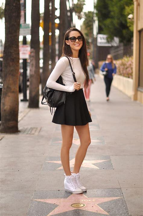 Hapa Time  Revolve Clothing top | Romwe Skirt | Guess u0026quot;Majesteyu0026quot; sneakers | Rebecca Minkoff ...