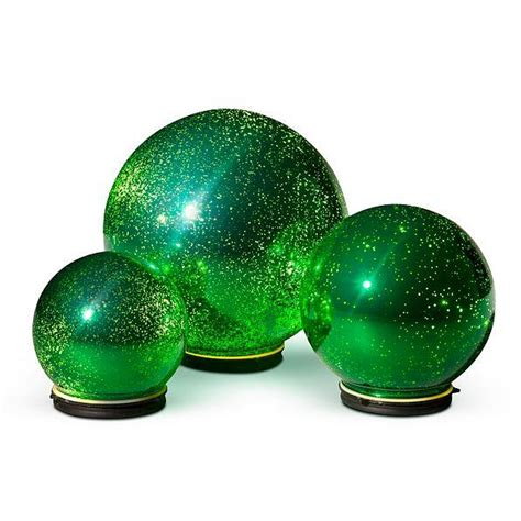 sale set of 3 mercury glass finish lighted orbs spheres