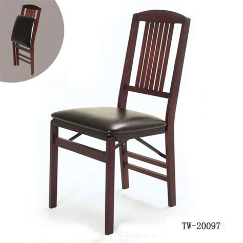 folding chair wooden folding chair  leather seat
