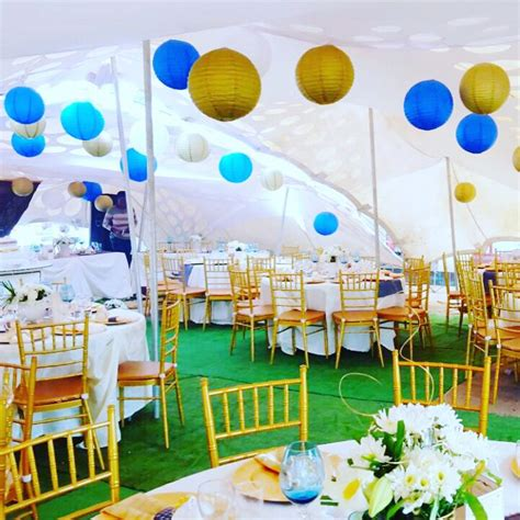 stretch tent african traditional wedding decor gold and