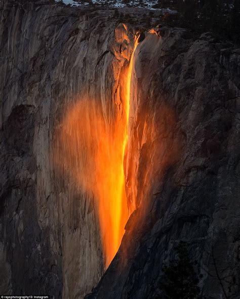 yosemite firefall national park phenomenon waterfall falls horsetail sun setting california natural fire fall lava water heart nature tail horse