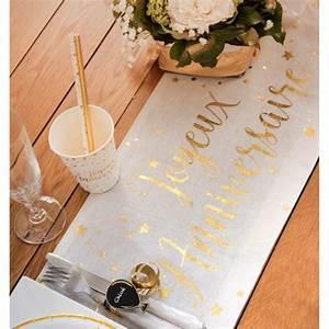 Chemin De Table Anniversaire : chemin de table joyeux anniversaire or coton chemins de ~ Melissatoandfro.com Idées de Décoration