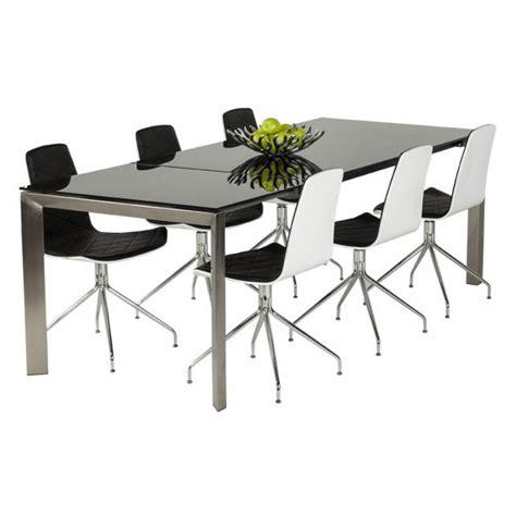 table carrée avec rallonge table design rectangulaire avec rallonge mona en verre tremp 233 et inox noir