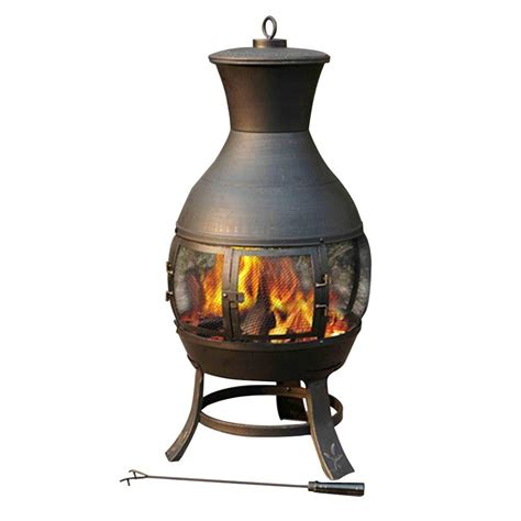 garden chimineas sunjoy steel chiminea l cm082pst 1 the home depot