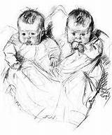 Twin Babies Victorian Sketch Drawing Drawings Pencil Clipart Children Twins Coloring Pages Draw Sketches Angels Printable Domain Karenswhimsy sketch template
