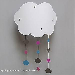 Applique Murale Chambre Bébé : applique nuage enfant avec mobile maison casse noisette ~ Nature-et-papiers.com Idées de Décoration