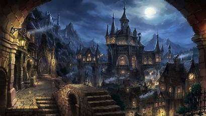 Gothic Fantasy Cathedral Architecture Night Cityscape Metropolis