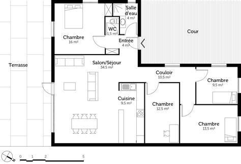 plan maison 3 chambres 1 bureau plan maison en l de plain pied avec 3 chambres ooreka