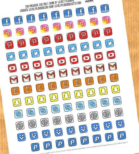 social media icons planner stickers lovely planner
