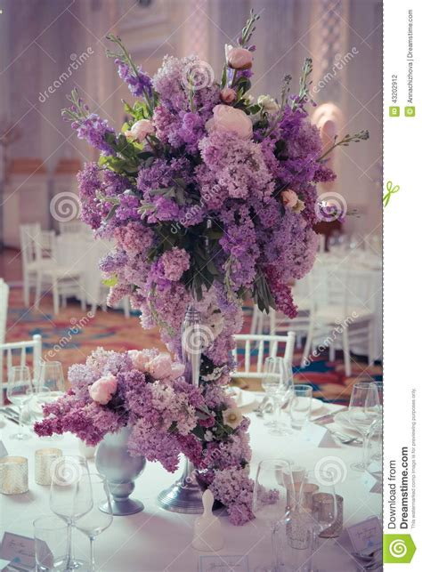 Lilac Decorations Wedding Tables - festive table decoration in lilac colours stock photo