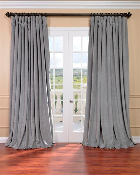 silver grey velvet blackout wide curtain panel