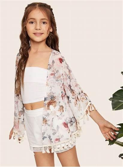 Shein Open Trim Kimono Floral Tassel Outfits