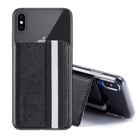 The card holder is designed from high quality durable leather that ensures the pocket will never loses elasticity when not in use. Sticker Phone Card Holder Case Leather Adhesive Wallet Pouc