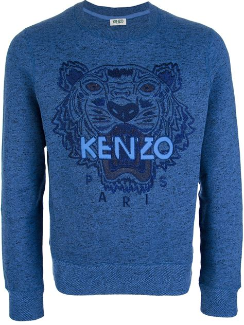 lyst kenzo embroidered tiger sweater  blue  men