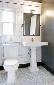 Black and White Bathroom with Tile