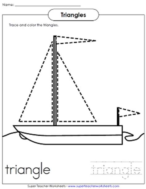 On A Boat Word Trace by Shape Worksheet For Children Trace The Triangles