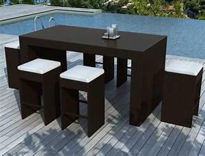 Bar Mange Debout : ensemble table bar et tabourets resine tressee noire 6 places ~ Teatrodelosmanantiales.com Idées de Décoration