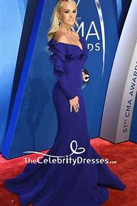 Carrie Underwood Royal Blue Mermaid Evening Gown With Long ...