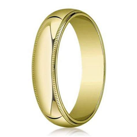 men s domed 18k gold wedding band milgrain edges 5mm width