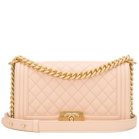 chanel light beige quilted caviar medium boy bag worlds