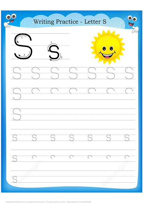 Letter S Is For Sun Handwriting Practice Worksheet  Free Printable Puzzle Games