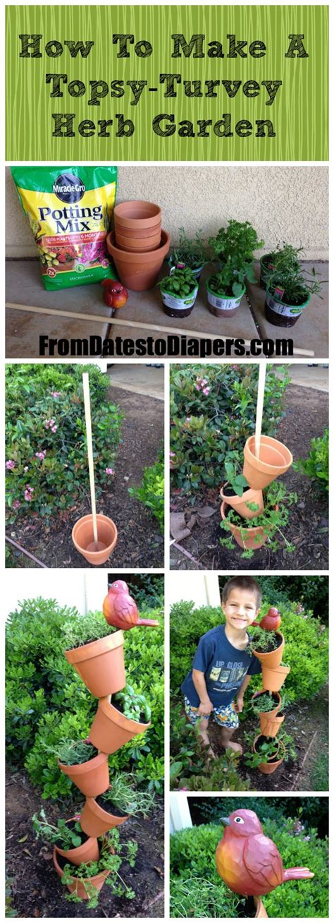 how to make an herb garden topsy turvey herb garden from dates to diapers