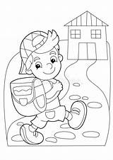 Coloring Cartoon Going Boy Getting Children Colorful Illustration Different sketch template