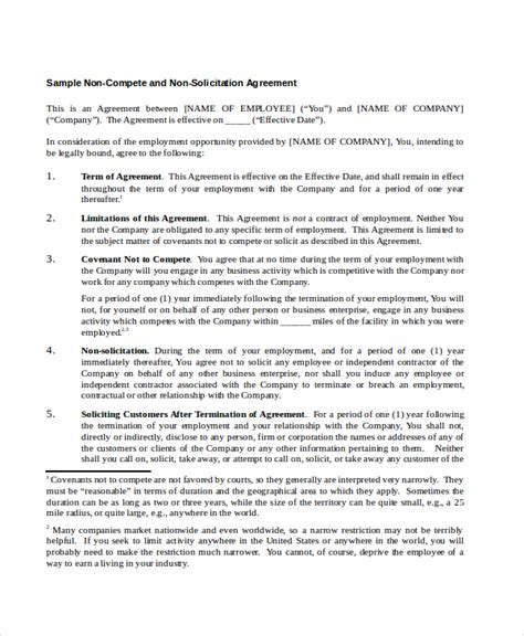 Business Templates Noncompete Agreement by 9 Non Compete Agreements Free Sle Exle Format