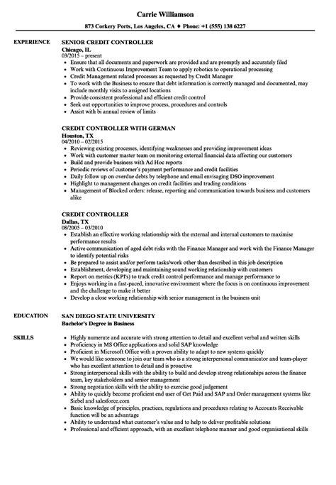 credit controller resume sles velvet