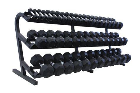 dumbbell rack set vtx 3 100lb rubber coated dumbbells with rack