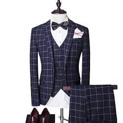 hemd design modisch slim fit schnitt herren 5 teilig anzug kariert design in blau mit weste krawatte
