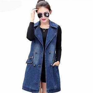 Women Denim Long Vest Coat Spring Fashion Double Breasted Sleeveless Jeans Jacket Vest Causual ...