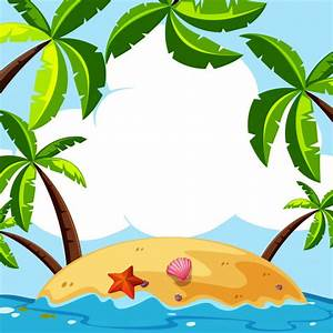 Background scene with coconut trees on island Vector ...