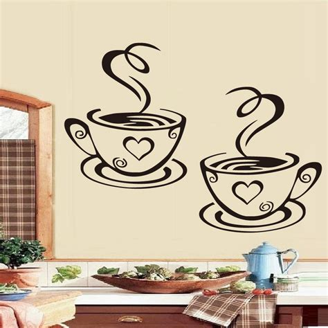 wall stickers for kitchen design dctop coffee cups wall stickers on the kitchen 8887