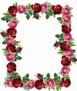 FREE digital vintage rose frame and border (png with ...