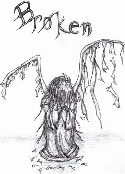 Broken Drawings Angel Wings Inside Traurige Sad