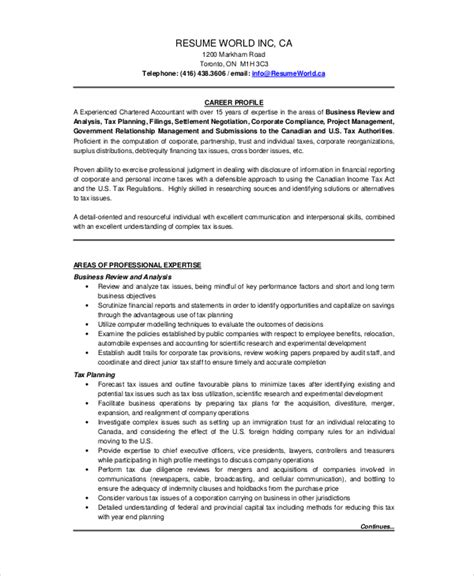 chartered accountant resume template 5 free word pdf