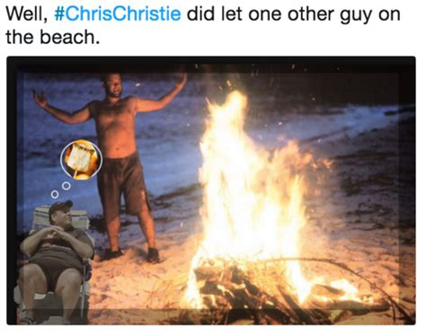Chris Christie Beach Memes - well chrischristie did let one other guy on the beach chris christie beach picture know