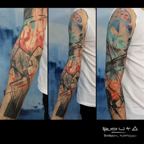 abstract sleeve tattoos