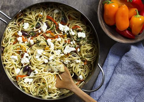 vegetarian mediterranean pasta  feta  artichokes